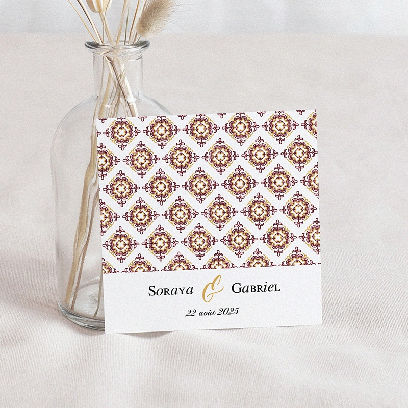 Save The Date Mariage Rouge Ottoman