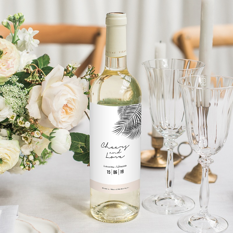 Étiquette bouteille mariage vin Oasis