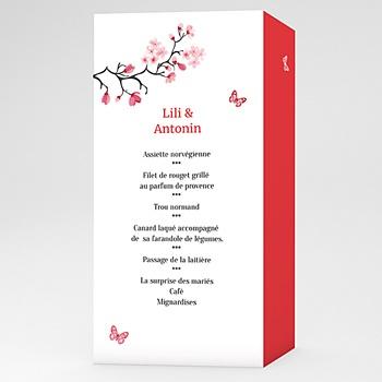 Menu mariage personnalisé fleurs d'amour