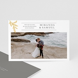 Carte remerciement mariage chic Botanique Minimaliste