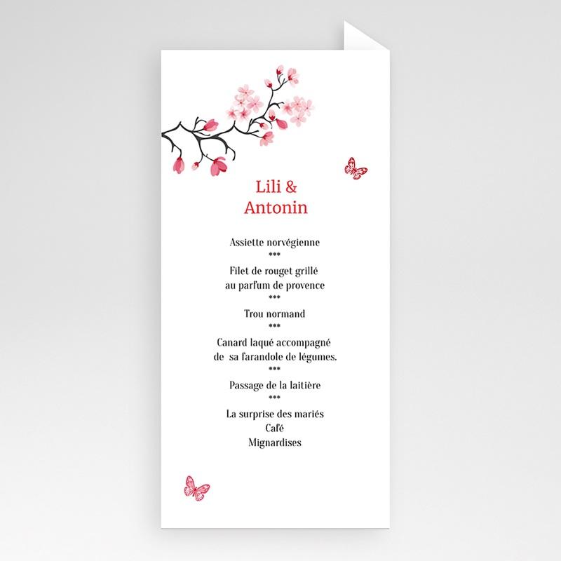 Menu Mariage Personnalisé Fleurs d'amour pas cher
