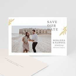 Save the date mariage Botanique Minimaliste