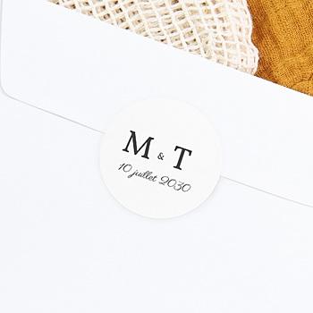 Étiquette autocollante mariage - Initiales minimales - 0