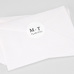 Etiquette autocollante mariage Initiales minimales