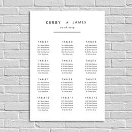 Poster Mariage Minimaliste gris blanc