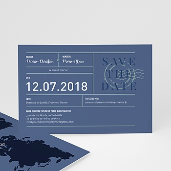 Save the date mariage Blue Wedding Pass à personnaliser