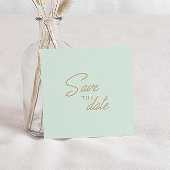 Achat save the date mariage vert et doré