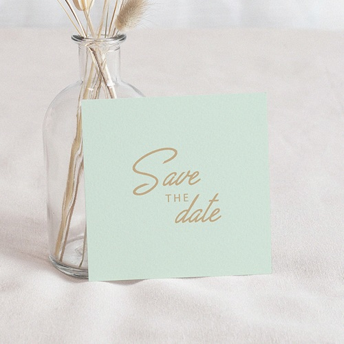Save The Date Mariage Vert & doré, Photo, 10 x 10