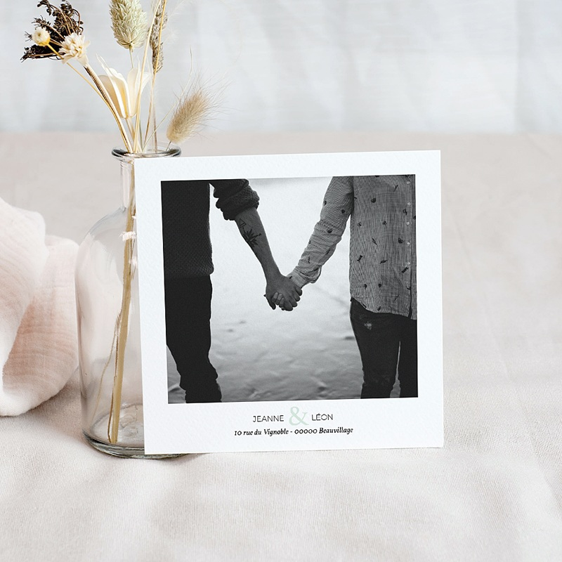 Save The Date Mariage Vert & doré, Photo, 10 x 10 pas cher