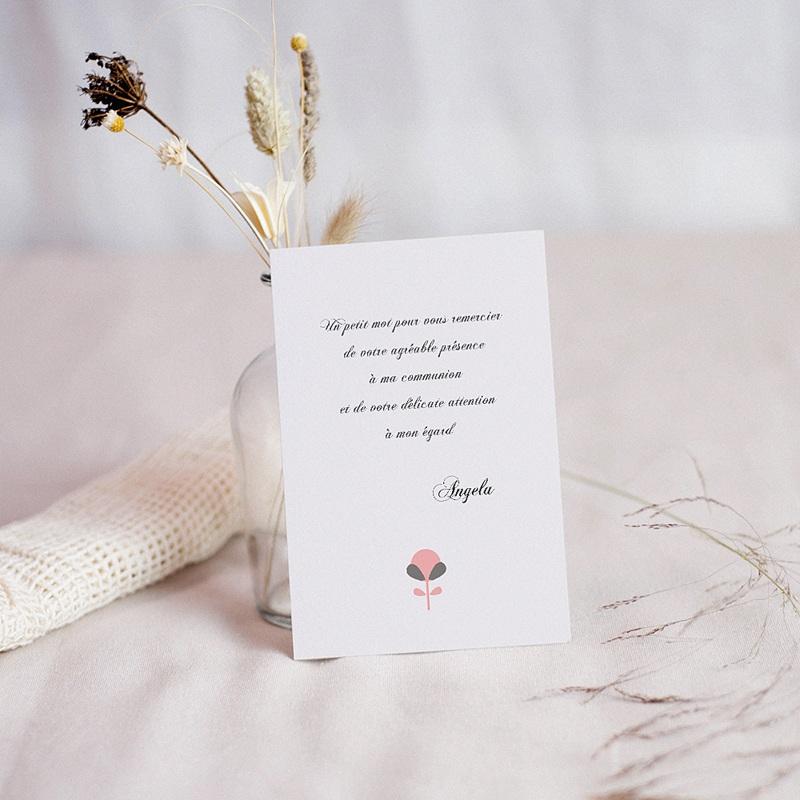 Carte remerciement communion fille Fleur de Vie - Solennelle pas cher