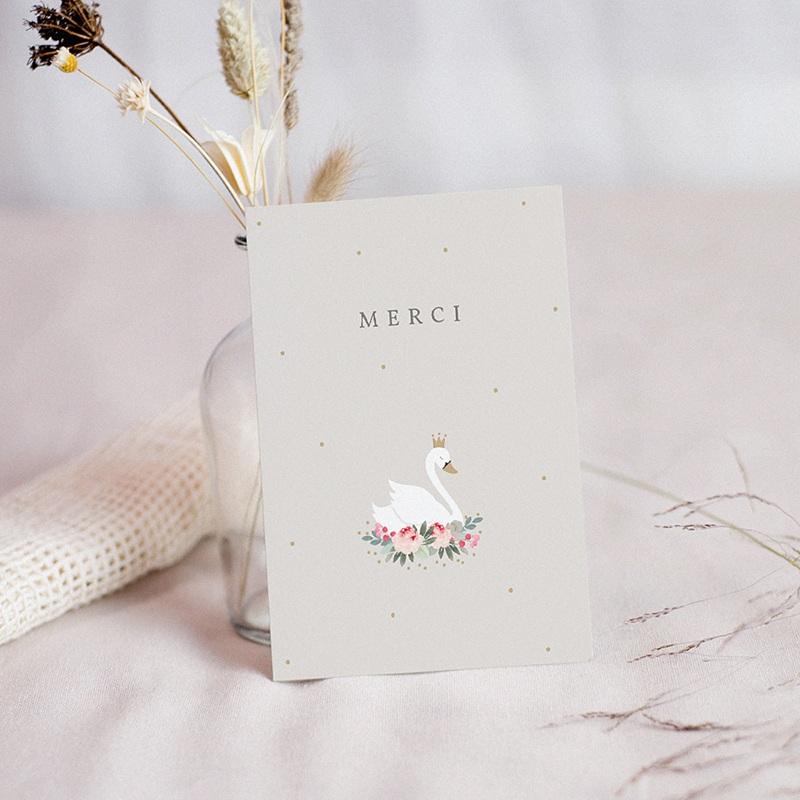 Carte remerciement naissance fille Cygne Princesse