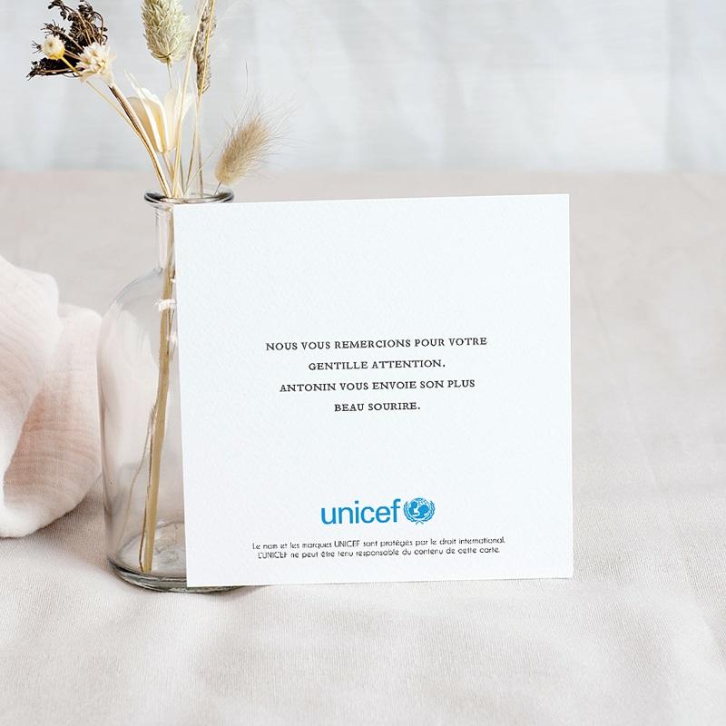 Carte Remerciement Naissance UNICEF Elstar pas cher