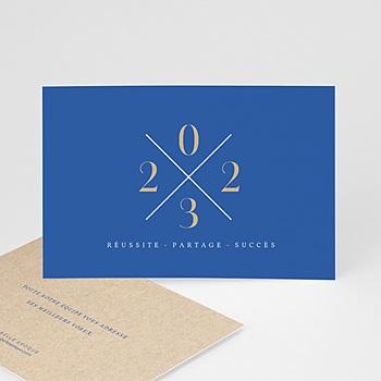 Carte de Voeux Professionnelle - Bleu & Kraft - 0