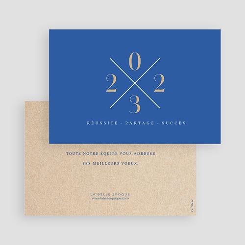 Carte de Voeux Entreprise Bleu & Kraft gratuit