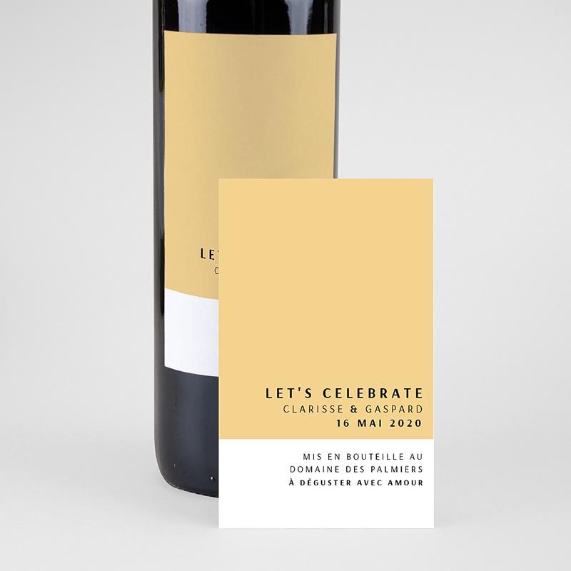 Étiquette bouteille mariage vin Jaune Estival pas cher