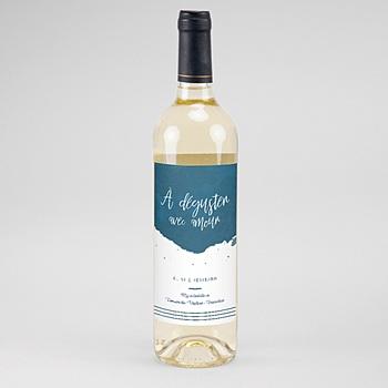 Étiquette bouteille mariage vin - L'or bleu - 0