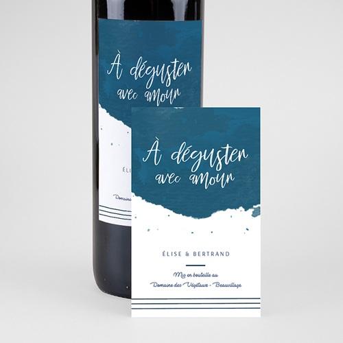 Étiquette bouteille mariage vin L'or bleu pas cher