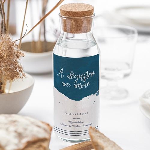 Étiquette bouteille mariage vin L'or bleu gratuit