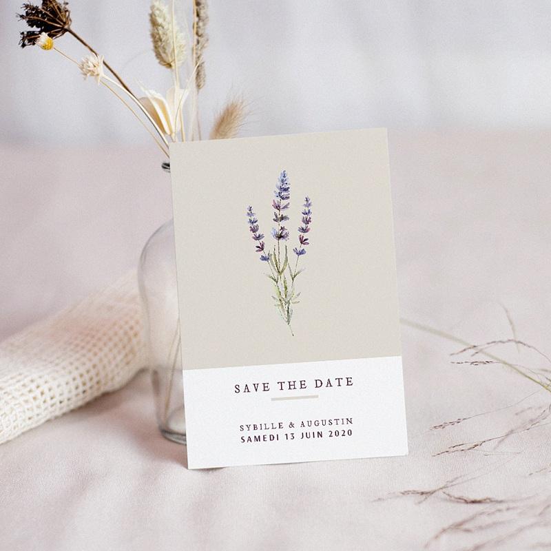 Save the date mariage Bouquet de Lavande