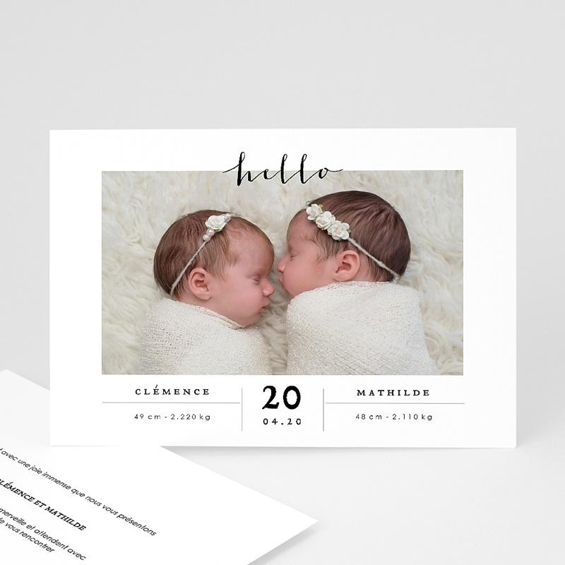 Faire-part naissance jumeaux Jumelles Filles