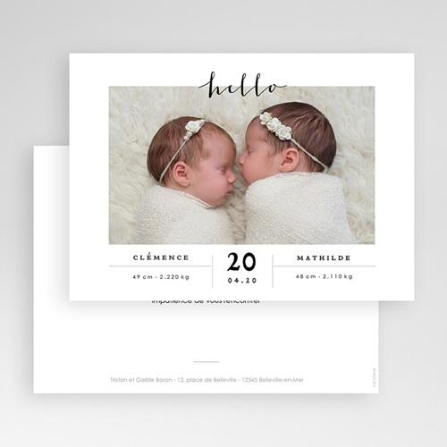 Faire-part naissance jumeaux Jumelles Filles gratuit