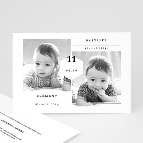 Faire-part naissance jumeaux Jumeaux Garçons