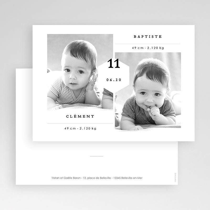 Faire-part naissance jumeaux Jumeaux Garçons gratuit