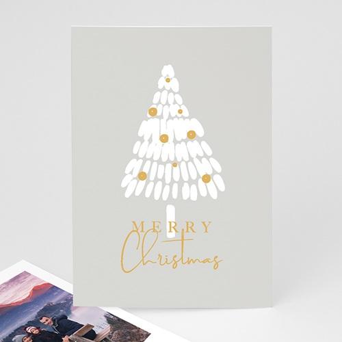 Carte Noël Merry Christmas Sapin Blanc