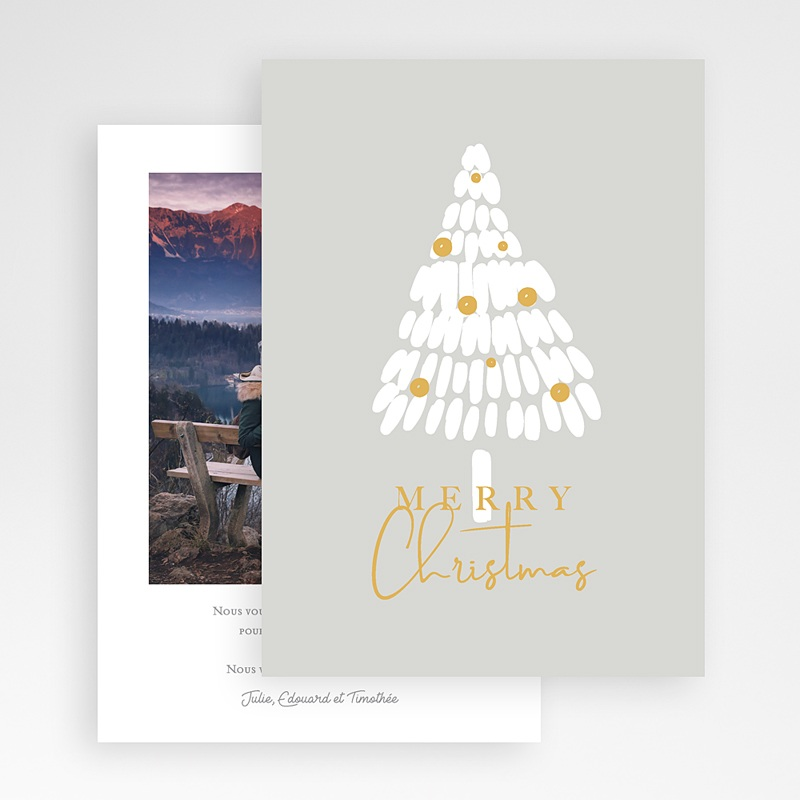 Carte Noël Merry Christmas Sapin Blanc gratuit