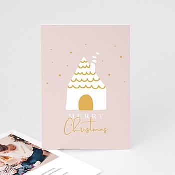 Carte de voeux Merry Christmas Maison enneigée à personnaliser