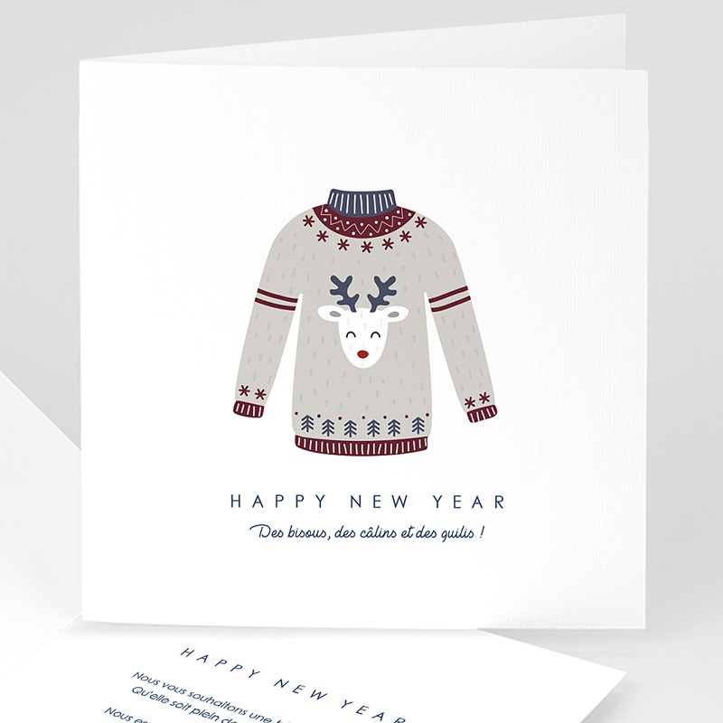 Carte de Voeux Happy New Year Pull de Noel