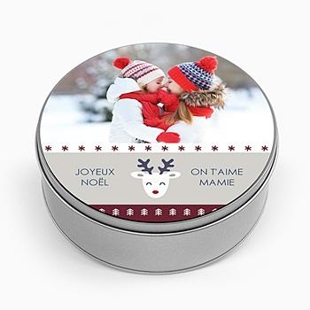 Boîte en métal ronde Pull de Noel à personnaliser