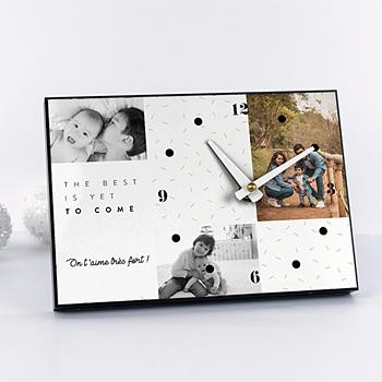 Horloge avec photo - Voeux Dorés - 0