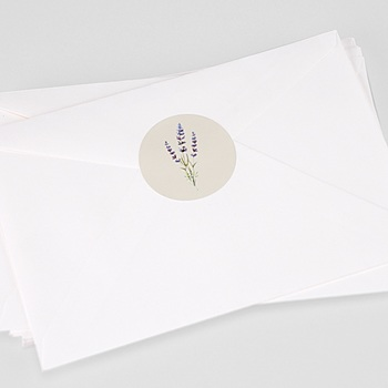 Etiquette autocollante mariage bouquet de lavande personnalisé