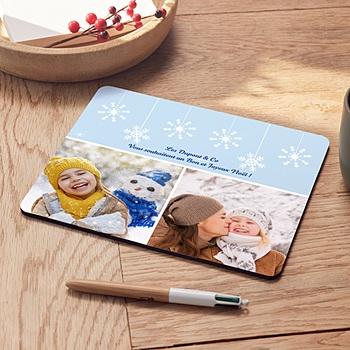 Tapis de souris personnalisé Flocons blancs bleus