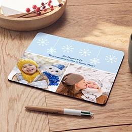 Tapis de Souris Noël Flocons blancs bleus