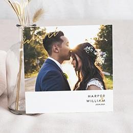 Carte remerciement mariage photo Or & Rouge Bordeaux