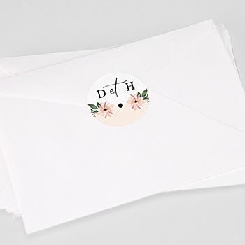 Création etiquette autocollante mariage douceur des fleurs