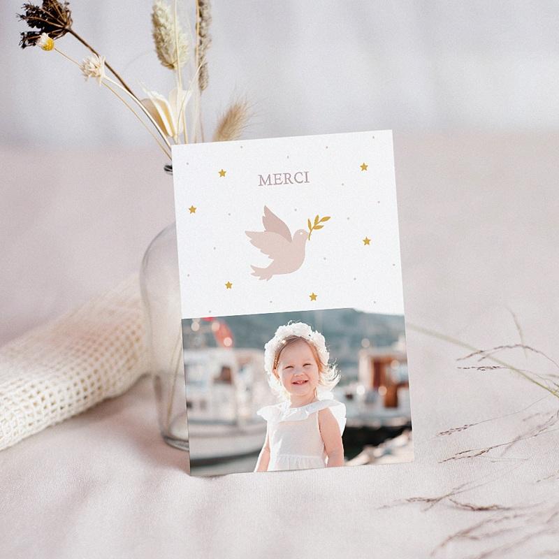 Carte Remerciement Baptême Fille Colombe Rose