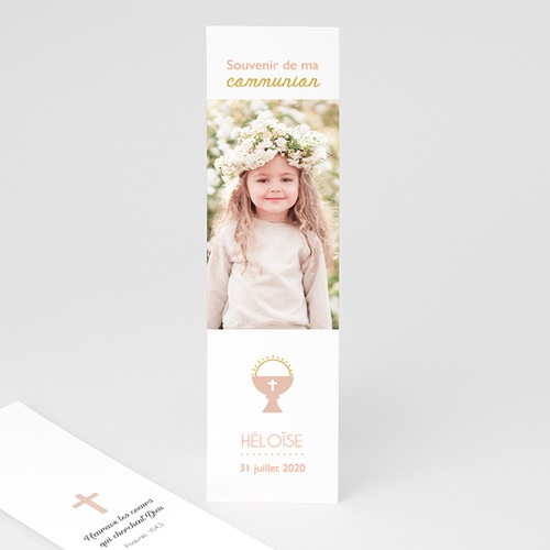 Marque Page Communion Calice Rose