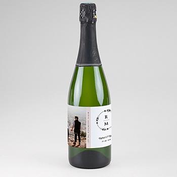 Etiquette bouteille champagne couronne boho personnalisable