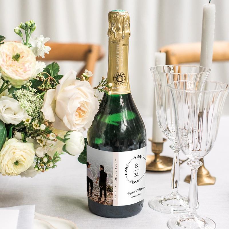Etiquette Bouteille Champagne Couronne Boho gratuit
