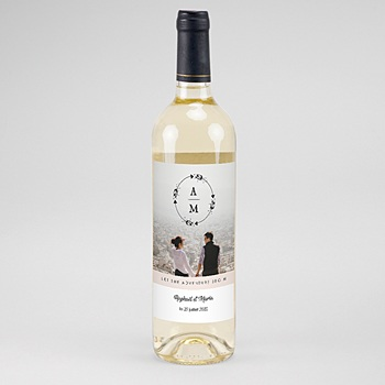 Créer soi même étiquette bouteille mariage vin couronne boho