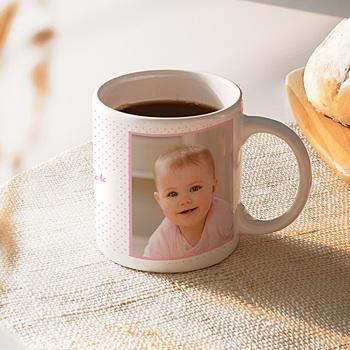 Mug Bapême en vue rose à personnaliser