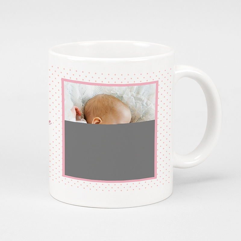 Mug Personnalisé Photo Baptême en vue - rose
