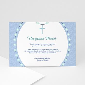 Acheter carte remerciement baptême garçon perles bleues