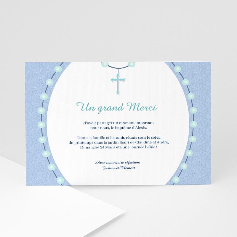 Carte Remerciement Baptême Garçon Perles Bleues
