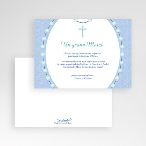 Carte Remerciement Baptême Garçon Perles Bleues pas cher