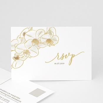 Carton réponse mariage Orchidées dorées à personnaliser