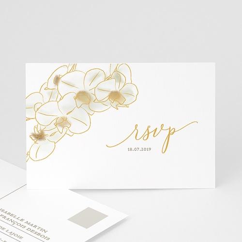 Carton Réponse Mariage Orchidées dorées